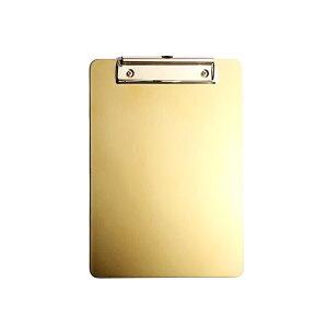 クリップボード ゴールドカラー スタイリッシュ 金属製 壁掛け用フック付き (A4サイズ)
