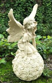 ガーデンオーナメント 置物 お花のボールに乗る妖精 アンティーク風 (Bタイプ)