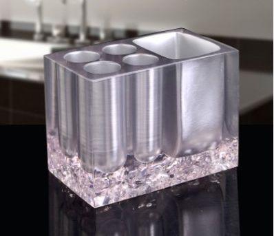 歯ブラシスタンド クラッシュガラス風 クリア スタイリッシュ 樹脂製 (メタリックシルバー)