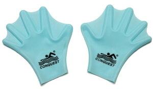 水かき 水泳補助具 グローブタイプ シリコン製 ライトブルー (大人用) 【送料無料】