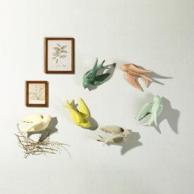 壁掛けオブジェ カラフルな羽ばたく小鳥 パステルカラー 6色セット