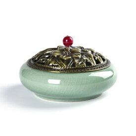 香炉 ルビーのような取っ手付きの蓋 和モダン風 陶器製 お香立て付き (グリーン)
