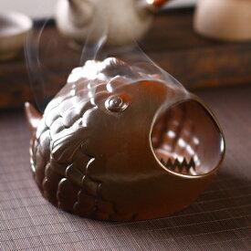 蚊遣り器 立体的 スタンド付き レトロ 陶磁器製 (さかな)