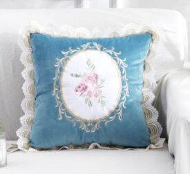 クッションカバー 花の刺繍 レース ヨーロピアンアンティーク風 (ブルー) 【送料無料】