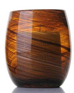 キャンドルホルダー 流れるライン風デザイン ミニサイズ ガラス製 (卵型)