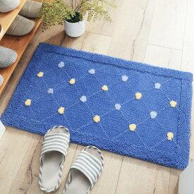 玄関マット 水玉模様 格子柄のライン ふわふわ 大きめサイズ (ブルー)