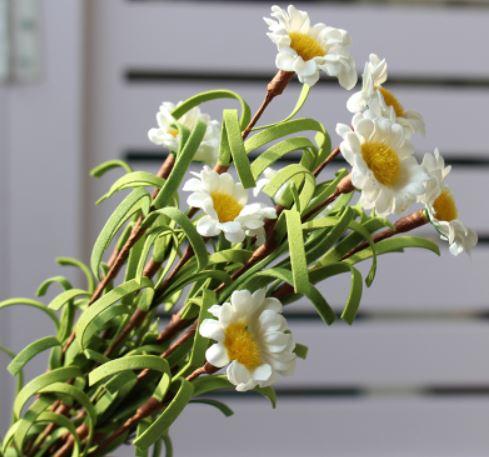 造花 雛菊 デージー かわいいインテリアフラワー 5本セット (ホワイト)