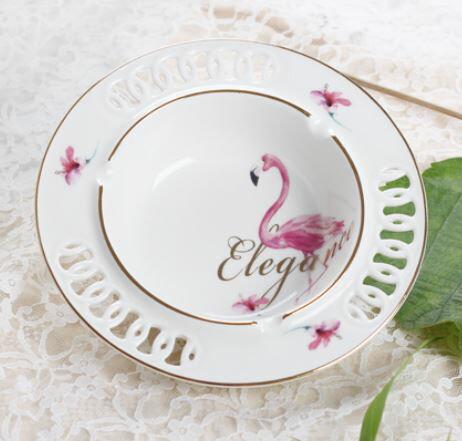 灰皿 フラミンゴ ホワイト ゴールドの縁取り エレガント 陶器製 (大サイズ)