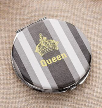 コンパクトミラー ストライプ柄 王冠モチーフ Queen 丸型 (グレー)