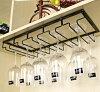 ワイングラスホルダーグラスハンガー吊り下げ式シンプル5列タイプ(ブラック)