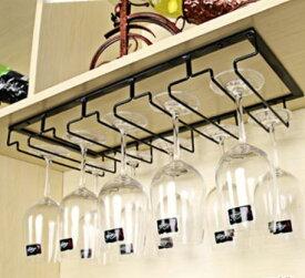 ワイングラスホルダー グラスハンガー 吊り下げ式 シンプル (5列タイプ, ブラック)