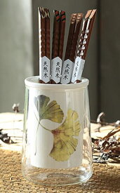 箸立て シックな秋のリーフ柄 ガラス容器入り 陶器製 ナチュラル (銀杏)