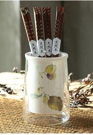 箸立て シックな秋のリーフ柄 ガラス容器入り 陶器製 ナチュラル (クルミ)