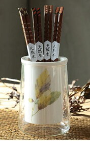箸立て シックな秋のリーフ柄 ガラス容器入り 陶器製 ナチュラル (どんぐり)