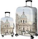 スーツケースカバー ヨーロッパ 歴史的建造物 風景 イラスト プリント (L) 【送料無料】