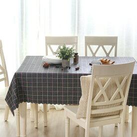 テーブルクロス 2色使いのチェック柄 シック PVC製 (長方形B 135×220cm)