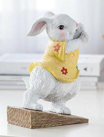 ドアストッパー かわいいウサギ 力持ち おしゃれな洋服 (黄色の花柄ワンピース)