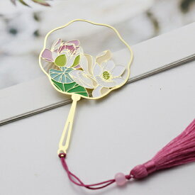 しおり 透かし模様のうちわ型 美しい植物 タッセル付き 金属製 ゴールドカラー (蓮) 【送料無料】