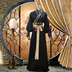 コスプレ チャイナ服 中国伝統柄 パフスリーブ メンズ レディース ロング 前リボン (ブラック)