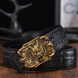 ベルト 強面の龍の顔 鋭い爪 クロコダイル風 (ブラック×ブロンズ)