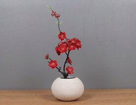 造花 梅の花 小枝 白いフラワーポット入り 和風 (レッド)