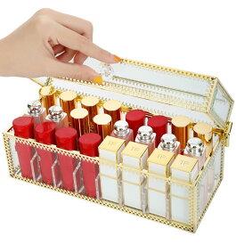 収納ケース ゴールドの縁取り 口紅用 化粧品 取り外し可能な仕切り 蓋付き ガラス製