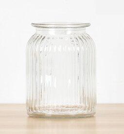 フラワーベース 花瓶 シンプル レトロ風 ガラス製 筒型 (クリア, 中サイズ)