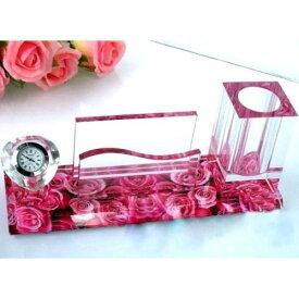 【訳あり】収納ホルダー 名刺立て ペン立て デスク用 クリスタル ピンクのバラ