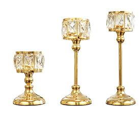 キャンドルホルダー グラス風 大きな八角形クリスタル装飾 キラキラ モダン ( ゴールド, 大中小3個セット)