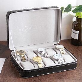腕時計ケース ブラックレザー風 白ステッチ ジッパー 英文字 シンプル (10本収納)