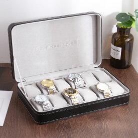 腕時計ケース ブラックレザー風 白ステッチ ジッパー 英文字 シンプル (12本収納)