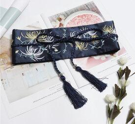 サッシュベルト 菊の花 刺繍 着物風 和柄 帯締め風の飾り紐 タッセルつき (ネイビー) 【送料無料】
