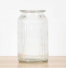 フラワーベース 花瓶 シンプル レトロ風 ガラス製 筒型 (クリア, 大サイズ)