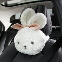 ネッククッション ウサギの顔 モコモコ 大きなリボン (ホワイト)