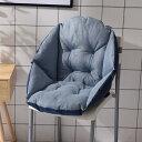 クッション 背もたれ付き 立体的 椅子用 無地 綿麻製 (ブルー系)