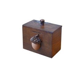 爪楊枝ケース 綿棒ケース 立体的な木の実モチーフ 彫刻風 ハンドメイド (どんぐり)
