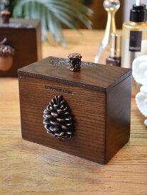 爪楊枝ケース 綿棒ケース 立体的な木の実モチーフ 彫刻風 ハンドメイド (松ぼっくり)