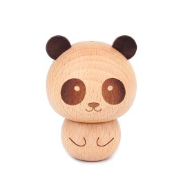 爪楊枝ケース コロンとしたパンダ パンダの頭蓋付き 木製 (男の子)