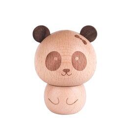 爪楊枝ケース コロンとしたパンダ パンダの頭蓋付き 木製 (女の子)