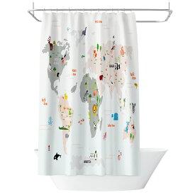 シャワーカーテン 世界地図とそこに住む動物たち キッズ アニメチック