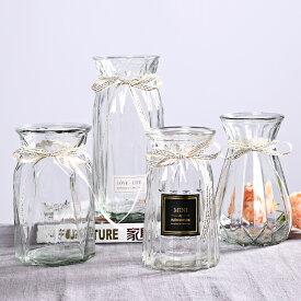 フラワーベース 飾り瓶 ライン模様 リボン付き 4個セット ガラス製 (クリア)
