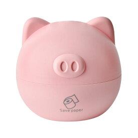 トイレットペーパーホルダー スタンド型 ブタさん 立体的な耳と鼻 シンプル (ピンク)