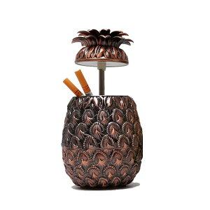 灰皿 パイナップル アンティーク風 ヘタの蓋付き 金属製 (ブロンズ)