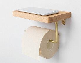 トイレットペーパーホルダー 木製の小物置き 金属製のアーム ゴールドカラー (ナチュラル)