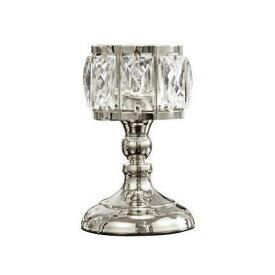 キャンドルホルダー グラス風 大きな八角形クリスタル装飾 キラキラ モダン ( シルバー, 小)
