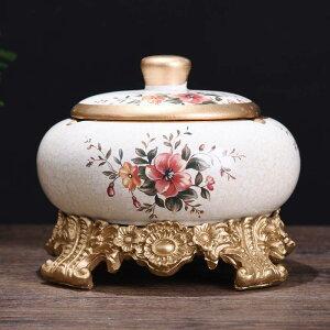 灰皿 ヨーロピアン風 花柄 台座 蓋付き 陶器製 (Bタイプ)