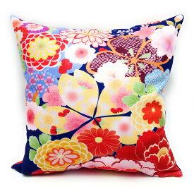 クッションカバー 美しい花柄の着物風デザイン 和柄 (Bタイプ) 【送料無料】