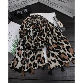 【訳あり】ストール レオパード 豹柄 小さなタッセル付き (ベージュ) 【送料無料】