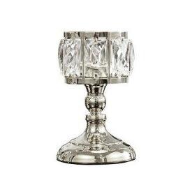 【訳あり】キャンドルホルダー グラス風 大きな八角形クリスタル装飾 キラキラ モダン ( シルバー, 小)