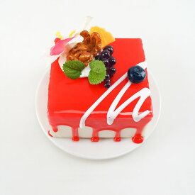 食品サンプル スクエア型ケーキ フルーツデコレーション (B)